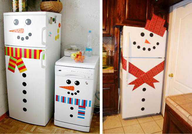 Снеговик на дверце холодильника
