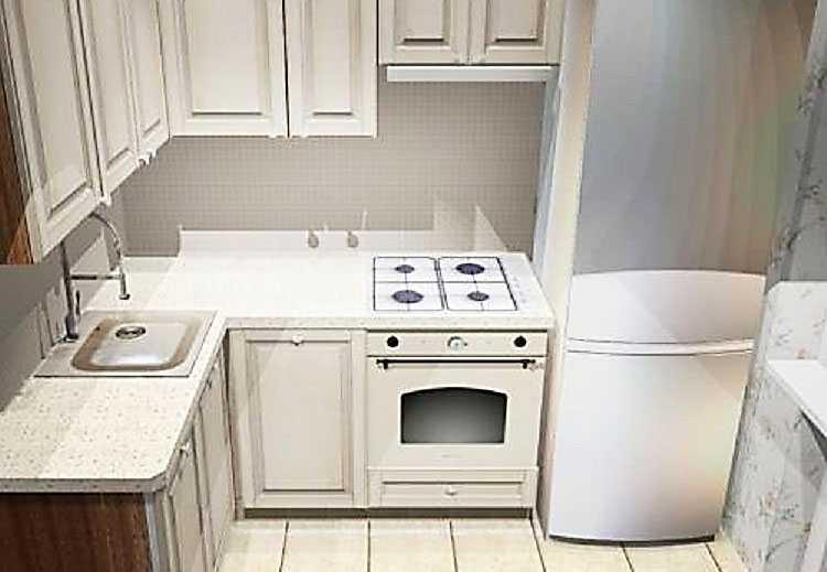 Холодильник возле кухонной плиты