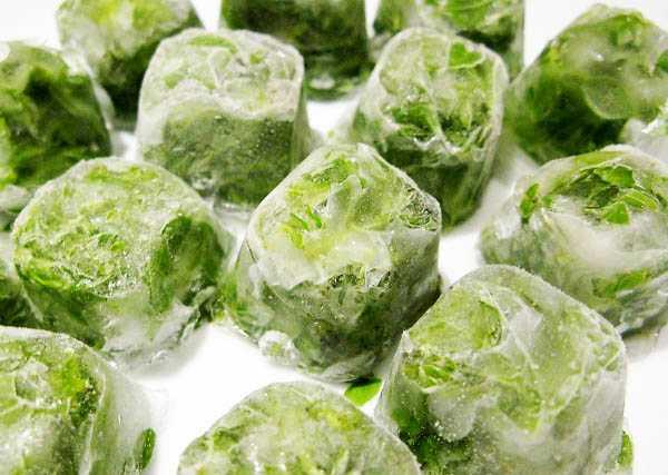 Заморозка зелёного лука в форме кубиков