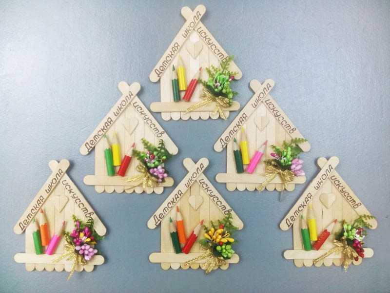 Магниты-домики из палочек из-под мороженого
