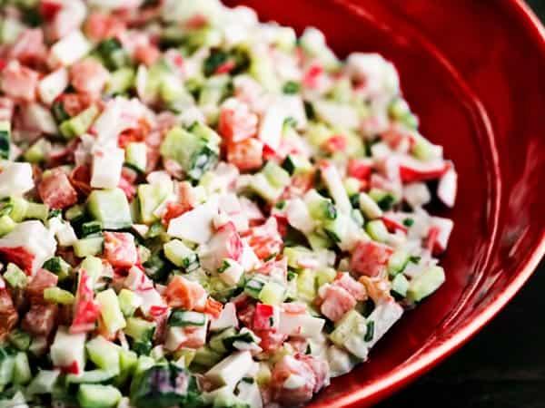 Хранение крабового салата без майонеза