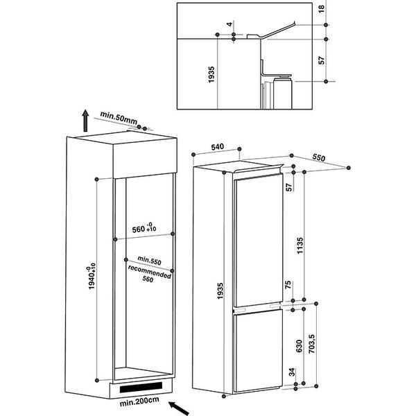 Встроенный холодильник - фото размеров